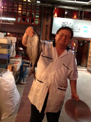 Fish seller in Mercado Central
