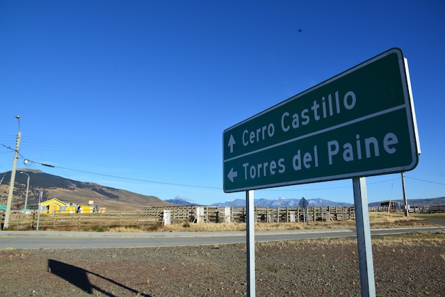 Sign to Torres del Paine