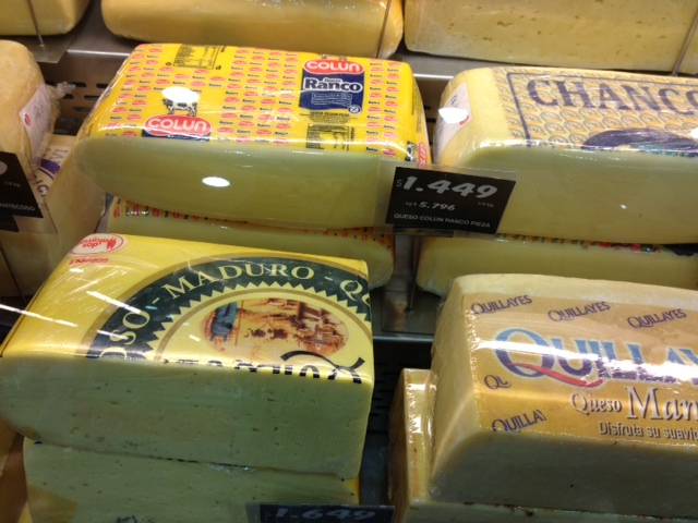 Cheese from the Lake District were sold in all supermarkets in Puerto Varas