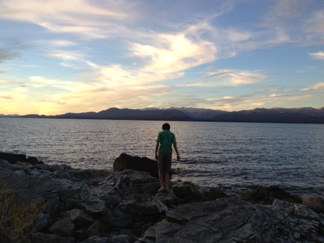 My son standing on a rock by Lake Nahuel Huapi. The apartment is on the top floor.