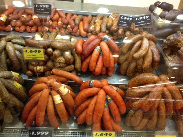 Sausages found in the supermarkets in Puerto Varas