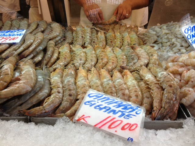 large shrimp in the mercado municipal