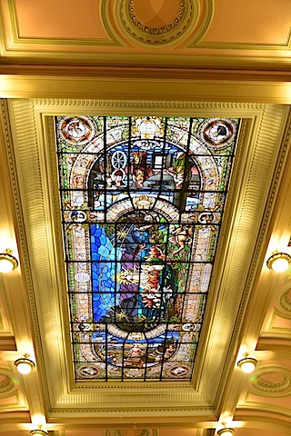 stained glass in coffee museum