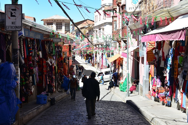 Cobblestone streets of La Paz