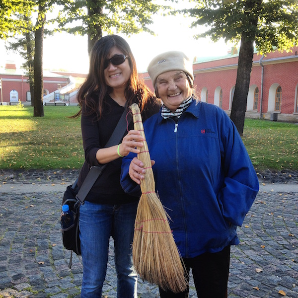 With a worker in Peter and Paul Fortress St. Petersburg Russia