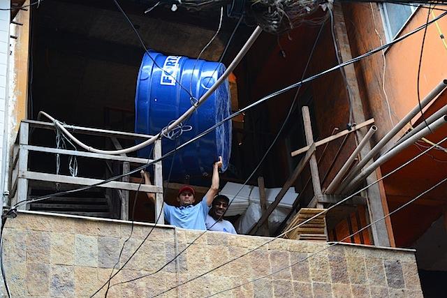 Men at work in the favela