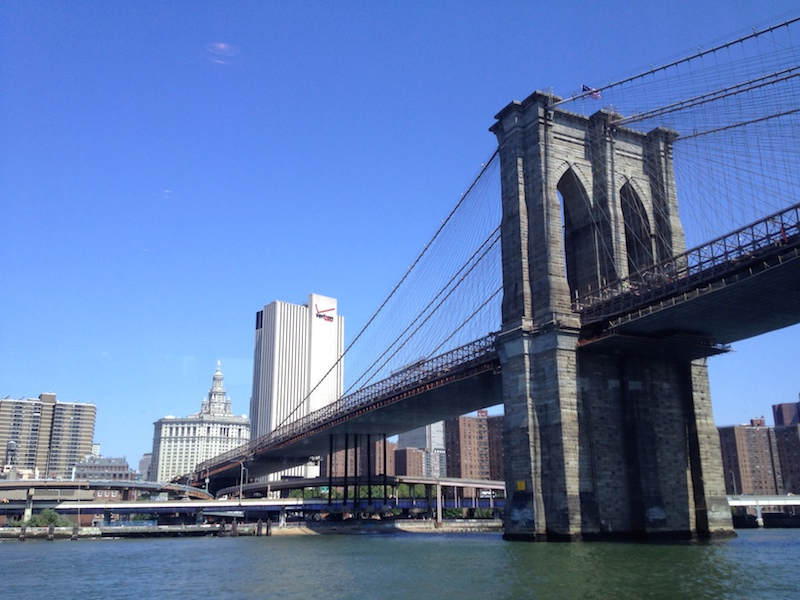 About to go under Brooklyn Bridge