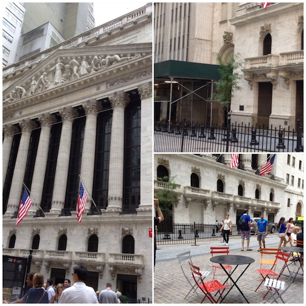 This is a young sycamore tree in front of New York Stock Exchange.