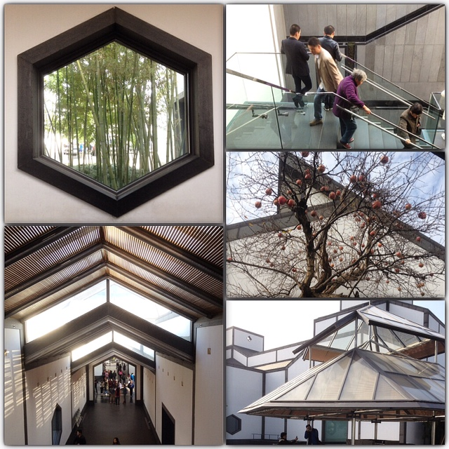 I.M. Pei's octagonal and hexagonal shapes, charcoal-colored tile roofs and white-washed walls are found throughout Suzhou Museum