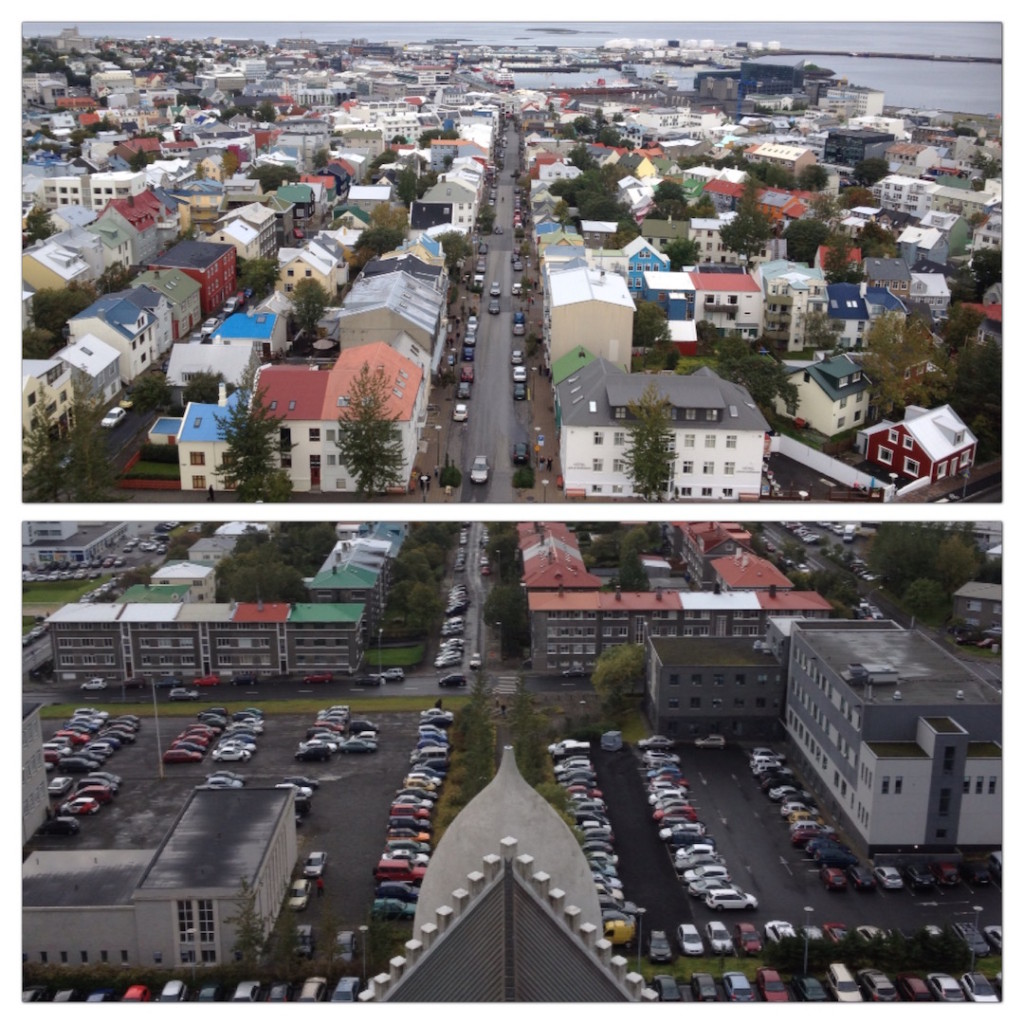 Views from the front and back of Hallgrimskirkja's bell tower