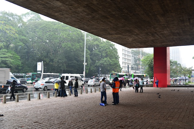 Taking shelter at the Sao Paulo Museum of Art.