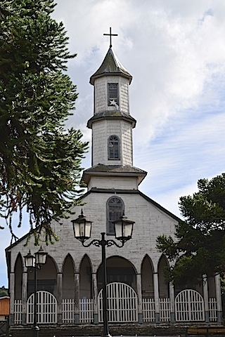 One of the many wooden churches of Chiloe.
