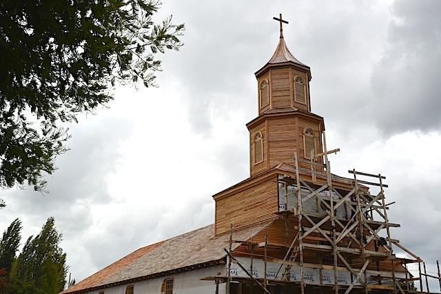 Reconstruction of Iglesia de Nercon in Chiloe, Chile