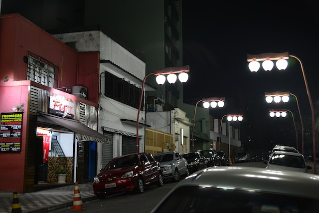 A quiet street in Sao Paulo at night.