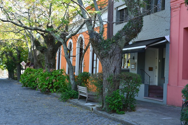 Street outside barrio historico in Colonia del Sacaramento Uruguay