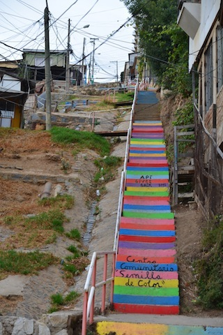 Colorful steps in Valparaiso