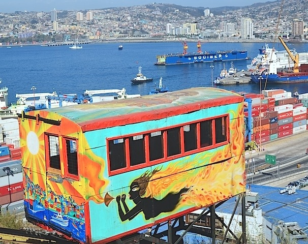 The funicular and Port of Valparaiso Chile