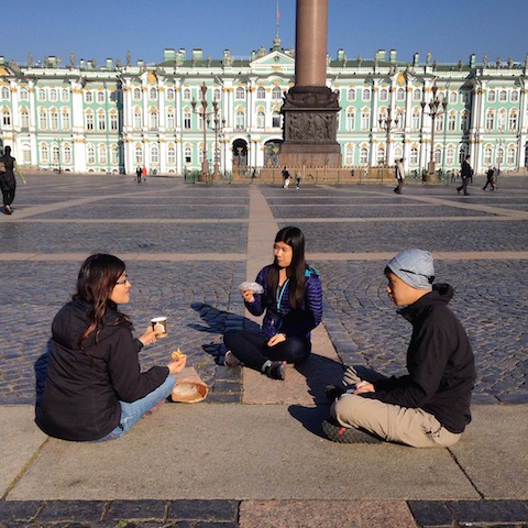 Enjoying coffee and pastries at the Dvortsovaya Square