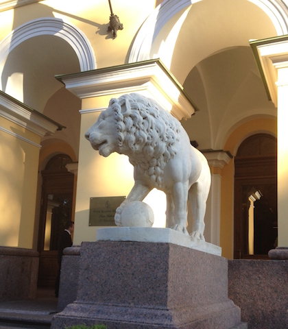 One of the lions at The Lion Palace Four Seasons St Petersburg