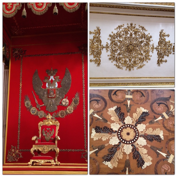 The Throne at The Great Throne Room. The intricate wood floor designs are the same as the ceiling designs
