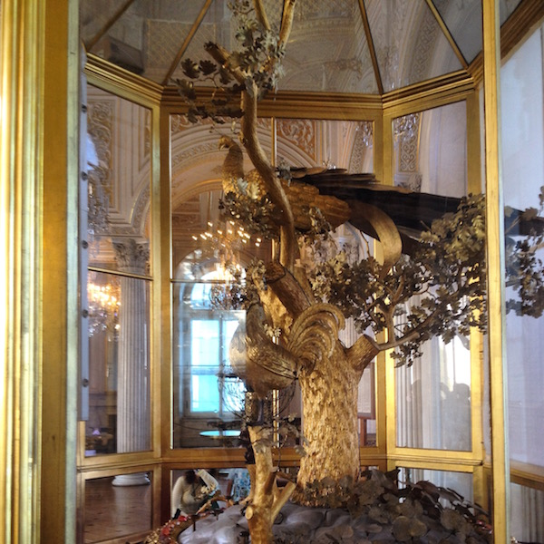 The 10-foot high Peacock Clock by James Cox brought to St. Petersburg in 1781.