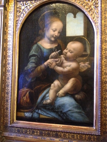 One of the early paintings by Leonardo da Vinci. Madonna and child (Madonna Benois)