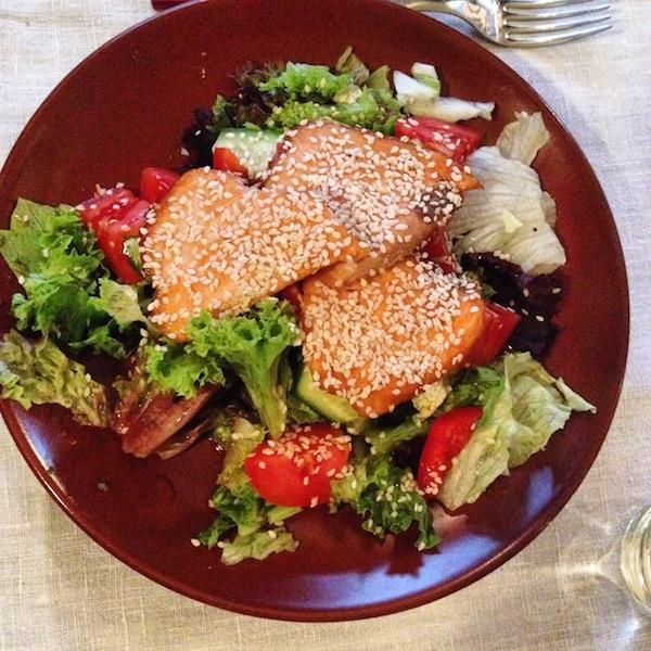 Salmon salad at Okhotnichya Izba St. Petersburg