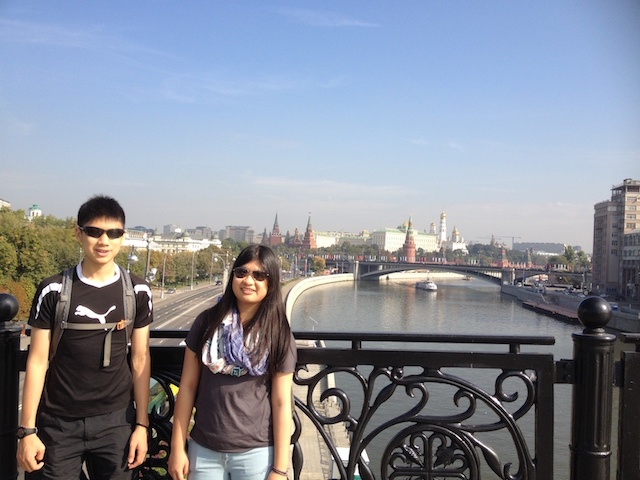 View of Kremlin, Moscow River and the Embankment from Patriarshy Bridge.