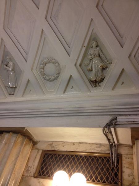 Teatralnaya Metro Station decorated with porcelain figures .