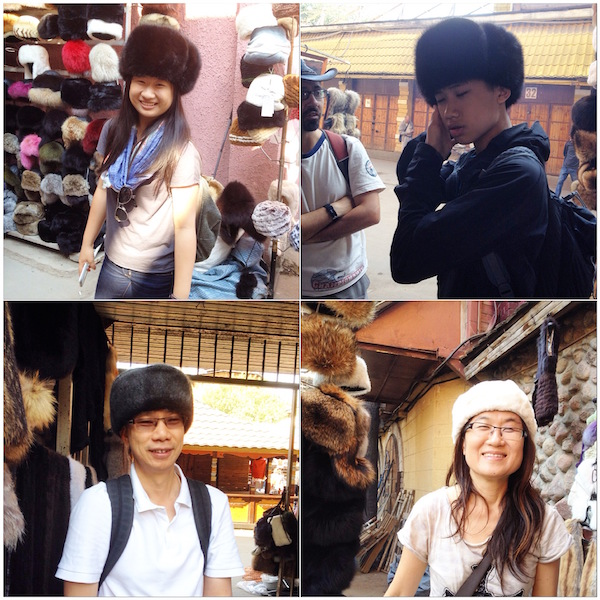 Somehow our eyes were all closed while wearing the mink hats!