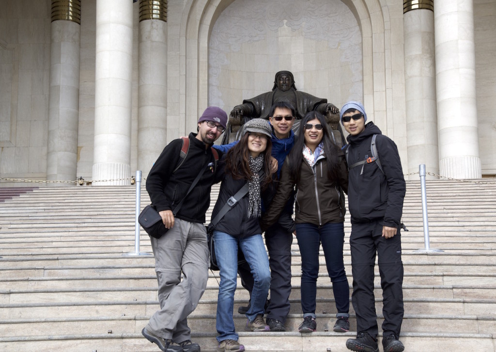 The family and The Tour Leader in Sukhbataar Square Ulan Bator Mongolia