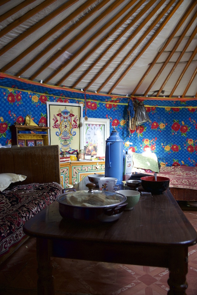Inside the ger in Mongolia