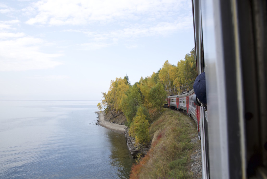 Circum Baikal Railway travels along Baikal shoreline