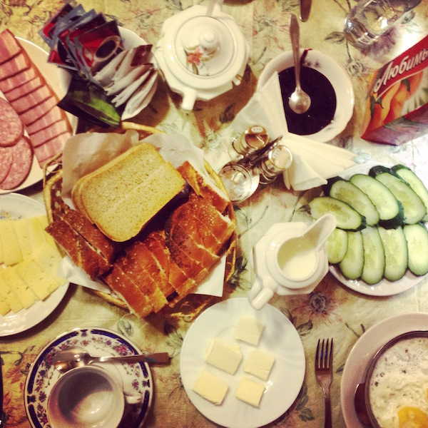Breakfast in Nikolai's homestay