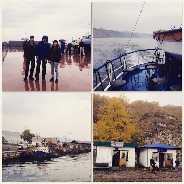 Top left - wet pier in Listyanka  Top right -inside the ferry going from Listyanka to Port Baikal Bottom left -Port Baikal Bottom right - shops in Lake Baikal