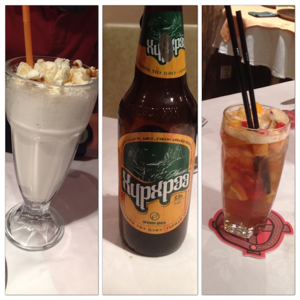 Mongolian beer was good, but the white 'popcorn' drink was better!