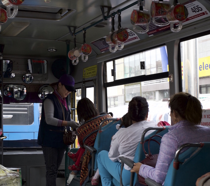 Inside a Ulaan Bataar bus