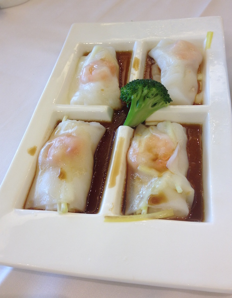 Steamed shrimp rice rolls (cheong fun)