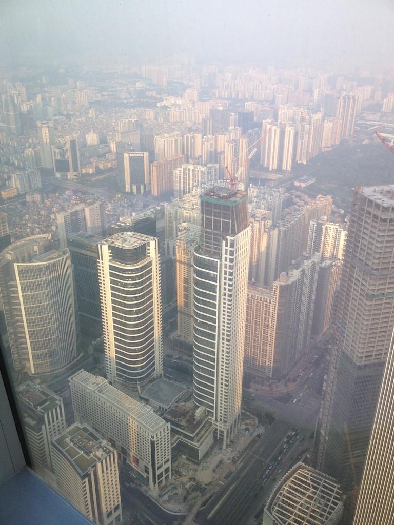 Guangzhou foggy skyline from Four Seasons Guangzhou (72nd Floor)