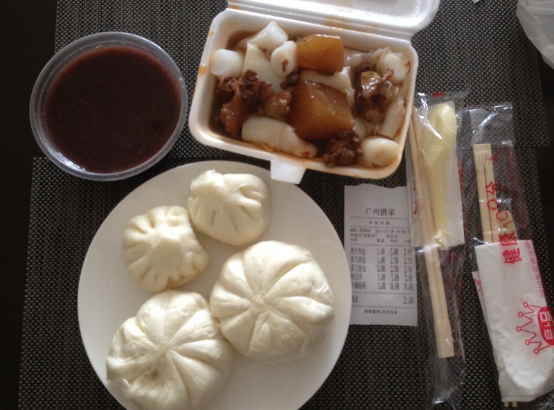 Barbecued pork buns, sweet red bean soup in a cup and rice noodle rolls