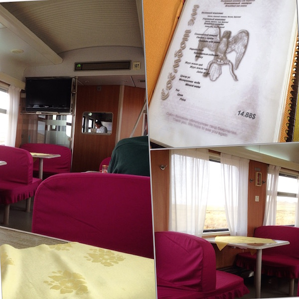 Dining car and price of breakfast in US Dollars