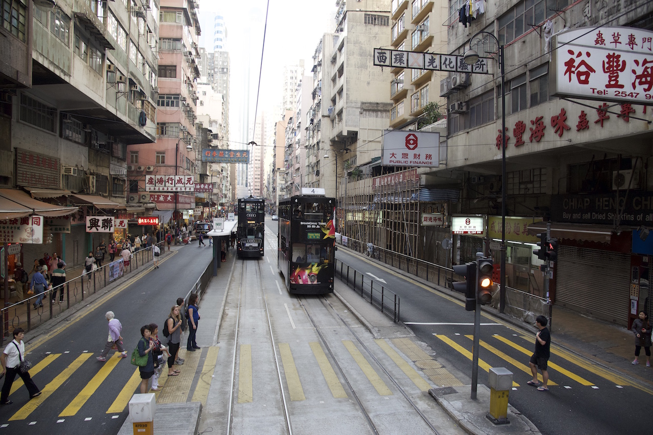 Hong Kong Tram and station in the middle of the road