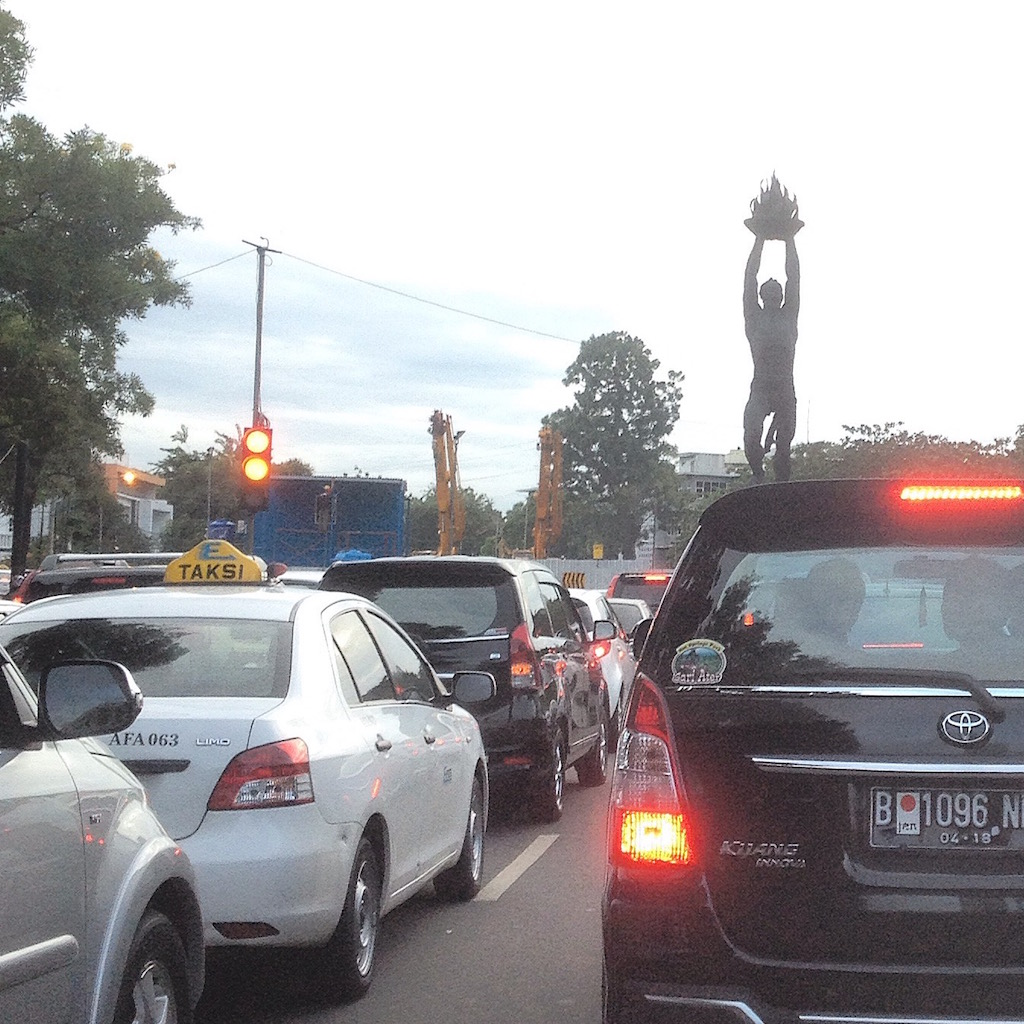 Back to back traffic in Central Jakarta