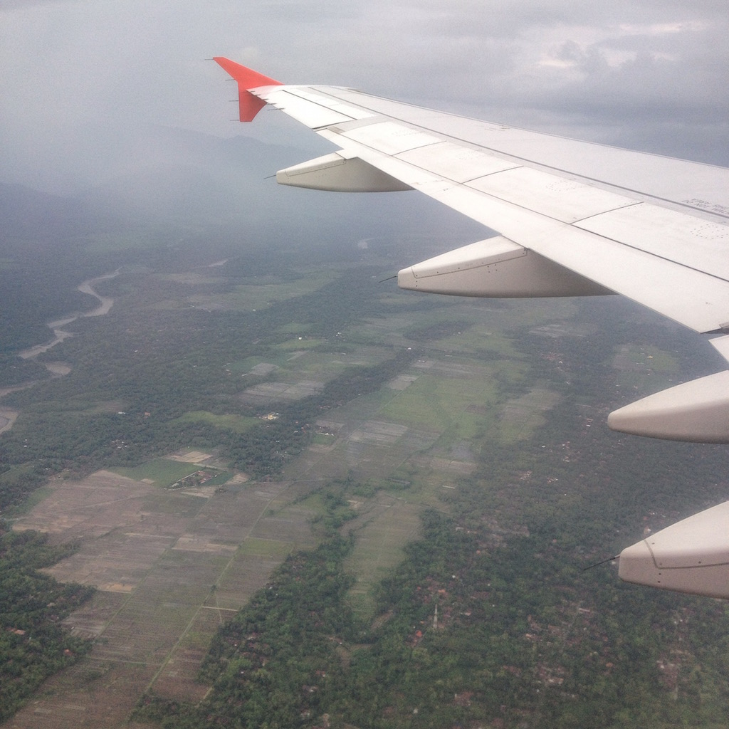 Air Asia flying over Central Java and approaching Yogjakarta