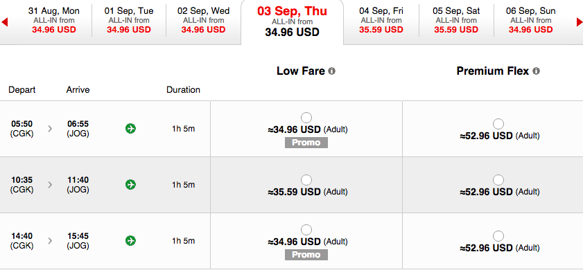 Screenshot from Air Asia