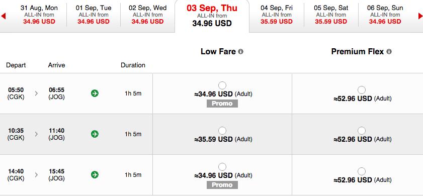Screenshot from Air Asia