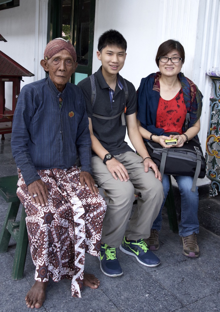 My son and I with a worker in Kraton
