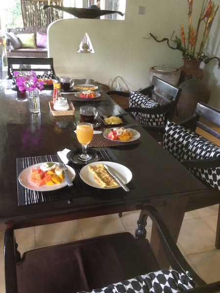 Breakfast served daily at the villa
