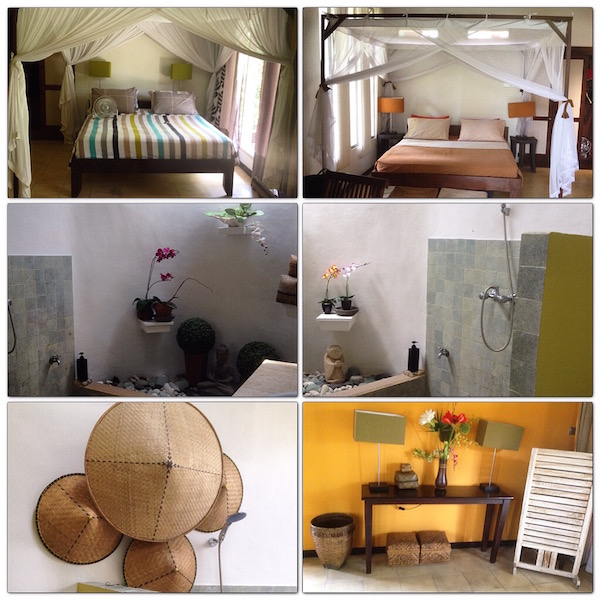 The 2 rooms and 2 bathrooms at the villa