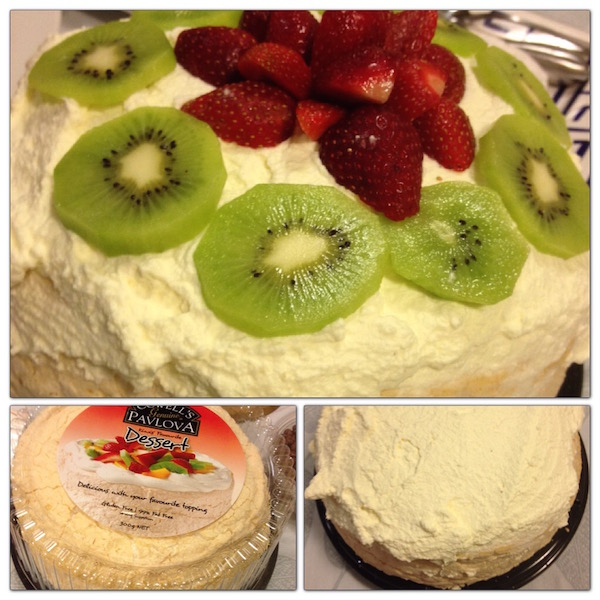 Every gathering in New Zealand has one of these- the pavlova. It's easy to make. Buy the gluten free meringue from the store. Cover it with whipped heavy cream and top with your favorite fruits.